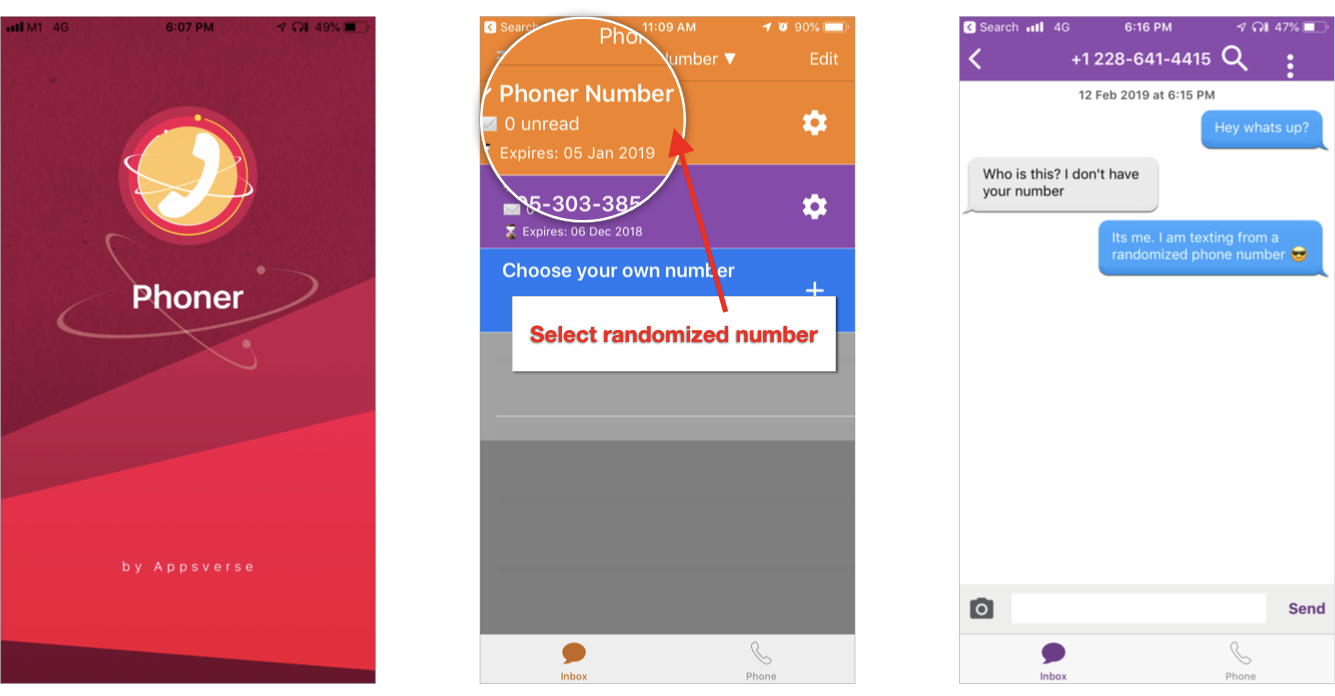 Random phone numbers can be created on Phoner in just 3 steps